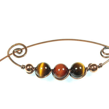 Tiger's Eye Scarf Pin, Copper Wire Brooch, Red Tiger's Eye, Stone Jewelry, Safety Pin Brooch, Lapel, Wire Wrapped, Minimalist