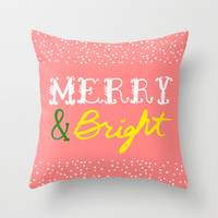 MERRY & BRIGHT Throw Pillow by Rebecca Allen