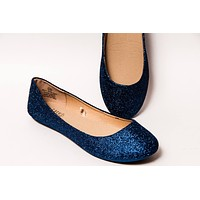 Navy-Colored Fine Glitter Ballet Flats