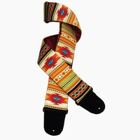 Red Cream Native American Style Guitar Strap Southwest Saltillo Design