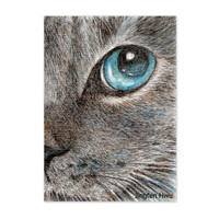 Original ACEO cat drawing OOAK --eye talk of a grey cat lover gift unique card art (#153)