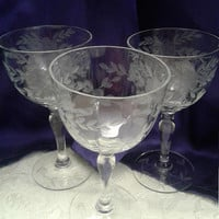 Three Grey Cut Floral with Laurel Leaf Etched Sherry Glasses, Optic Panel, Lady Leg Stem, Leaf Etched Foot, Elegant  1930s, 40s Crystal