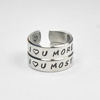 I Love You More I Love You Most Pair Rings, Mother Daughter Sisters Lovers Ring, Hand Stamped Personalized Jewelry