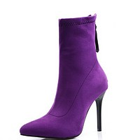 New style frosted suede tip thin heel versatile leg ankle boots shoes