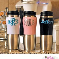 Monogrammed Colored Stainless Steel Thermos