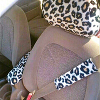 Headrest, Seatbelt & Center Console Covers CHEETAH or ZEBRA PRINT for Any Car, Truck or suv