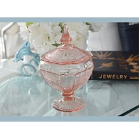 Pristine Anchor Hocking Pink Depression Glass Mayfair Covered Candy Dish