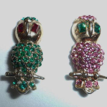 Rhinestone Owl Brooches, Scatter Pins, Gold tone, 1 inch tall Pink Green Rhinestones, Jewelry, Gift for Her, Mothers Day