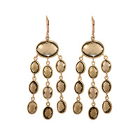 Smokey Quartz Chandelier Earrings Set In Rose Gold Plated Sterling Silver