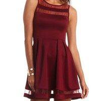 Organza Cut-Out Skater Dress by Charlotte Russe - Wine