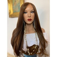 """KHLOÉ Volume Curls lace front wig in 24"""" long hair *Undetectable Lace + Natural layers + Side Parting *Color: #4 balayage FABULOUS"""