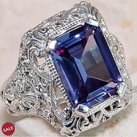 Big Blue CZ Zircon Stone Vintage Silver Ring