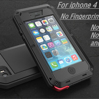 For iphone 5 SE Luxury doom armor Dirt Shock Waterproof Metal Aluminum phone cases For iphone 5S SE 5SE 4 4s 5c + Tempered glass