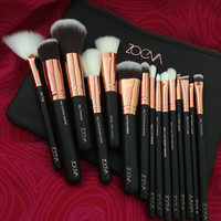 High Quality Zoeva 15 Pieces Rose Golden Complete Eye Set Eyeshadow Eyeliner Blending Pencil Makeup Brushes With Case