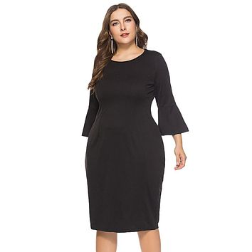 3/4 Bell Sleeve Bodycon Dresses in Colors