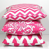 """Hot PINK Pillows Decorative Pillows TRIO chevron, damask, ikat set of THREE 18x18 inch Throw Pillow Covers 18"""" pink, white Zig Zag"""