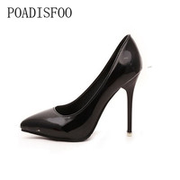 2017 New Pointed High Heels Female Winter Fine With  Single Shoe Patent Leather Shallow Mouth Sexy Nightclub 10cm Hee .DFGD-1318