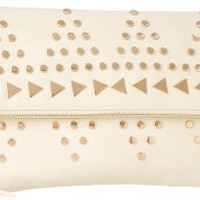 Street Level Studded fold over dual strap convertible clutch,ivory,one size