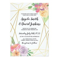 Rustic Wedding Invitations Floral Gold Frame