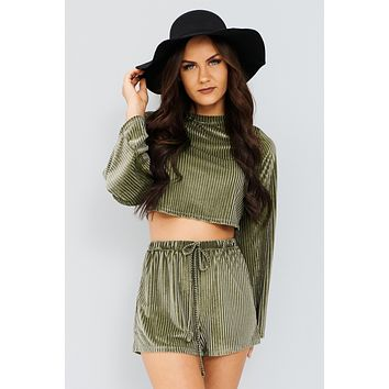 Let's Stay In Two Piece Set (Olive)