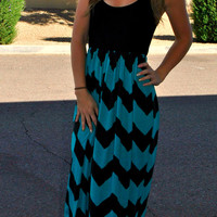 CRUISE BOUND CHEVRON MAXI DRESS IN TEAL