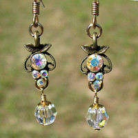 Antique Swarovski AB Crystal Dangle Earrings in gold filled,Valentines,birthday gift,teen earrings,women's earrings, gift for her