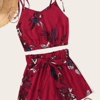 Floral Print Cami Top & Tie Front Shorts