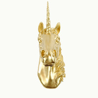 The Bayer in Gold - Magical Gold Unicorn Head - White Faux Taxidermy - Unicorn Wall Mount Art - Unicorn Decorations - Kids Room Decor