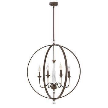 """30""""W Waverly 5-Light Stem Hung Foyer in Oil Rubbed Bronze"""