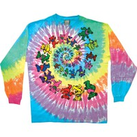 Grateful Dead Men's  Spiral Bears Tie Dye  Long Sleeve Multi