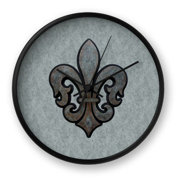 Rustic Fleur de Lis Wall Clock in gray and black
