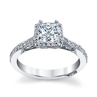 Tacori 18k White Gold Diamond Engagement Ring Setting 1/3 cttw