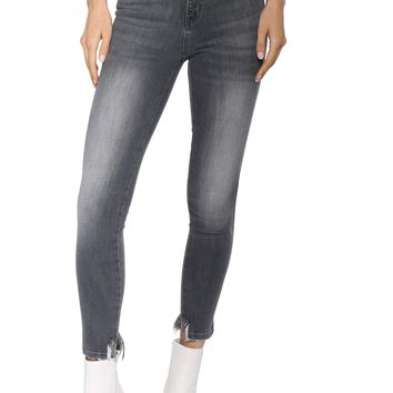 Flying Monkey High Rise Distressed Hem Crop Jeans