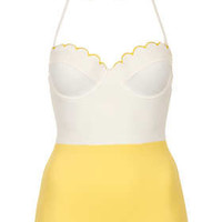 Cream Texture Scallop Swimsuit - New In This Week  - New In