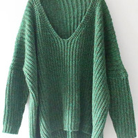 Cupshe Easy Does It Plunging Oversized Sweater