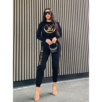 LV Louis Vuitton Fashion Women Casual Sequins Long Sleeve Top Pants Set Two-Piece Sportswear Black