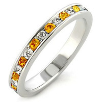 Crystal Happiness - FINAL SALE Sterling Silver Ring with Citrine and White Austrian Crystals