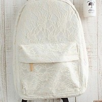 LinX Girl's Lace Aestheticism Travel Leisure Canvas Backpack/ Bags for Student (Rice white)