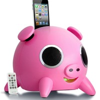 Speakal iHog 2.1 Stereo Docking Station and Speaker System with Rechargeable Battery for iPhone and iPod (Pink)