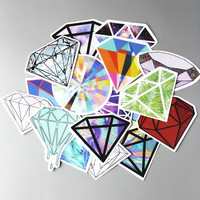TD ZW 18Pcs/lot Transparent Diamonds Design Stickers For Snowboard Car Laptop Luggage Skateboard Motorcycle Decal Toy Sticker