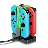 Joy-Con Charger,YockTec Nintendo Switch Joy-Con Charging Dock Stand 4-Controllers with light Charger Black)