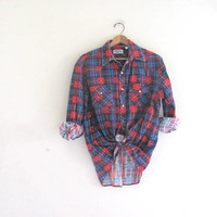 Vintage Plaid Flannel / Grunge Shirt / Boyfriend pearl snap up shirt / red and blue