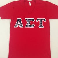 Ready to Purchase Alpha Sigma Tau American Apparel V-Neck Featuring Blue Anchors -- Perfect gift for Big or Little
