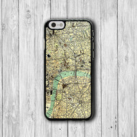 Vintage 60s LONDON MAP iPhone 6 Cover, Art Craft Antique iPhone 6 Plus, iPhone 5 / 5S iPhone 5C Cases iPhone 4/4S Accessory Wallet Case Gift