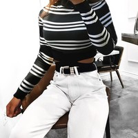 Summer Women's Fashion Sexy Hollow Out Long Sleeve Tops T-shirts [511221760015]