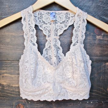 racer back all over lace scalloped bralette in blush