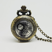 Vintage Glass Pocket Watch Necklace with Inspired Doctor who Time Lord