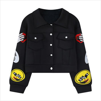 Black Sleeve and Back Patch Cropped Jacket