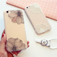 Exquisite fashion embossed flower transparent soft silicone mobile phone case for iphone 8Plus iphone8 iphone7 iphone7Plus  iphone 6 6s 6plus 6s plus + Nice gift box!