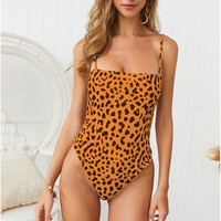 Sexy one-piece swimwear with panther print suspenders